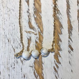 3 WRAPPED MOON BEADS GOLD NECKLACE